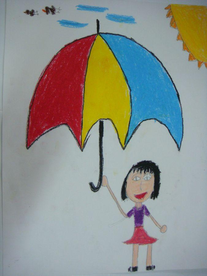 手绘透明雨伞学生作品