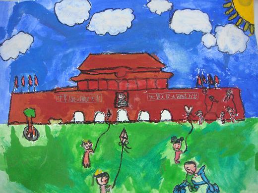 在天安门广场放风筝-四智-江逸雅